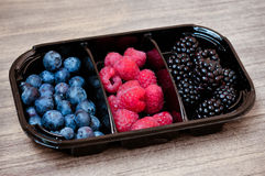Mix of berries. Blackberries, raspberries and blueberries in a plastic plate Royalty Free Stock Photos