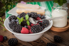 Mix of berries in a bowl. Stock Photo