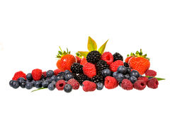 Mix berries isolated. On whit background stock photography