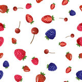 Mix berries seamless pattern. Mix berries seamless pattern on white background Stock Photos