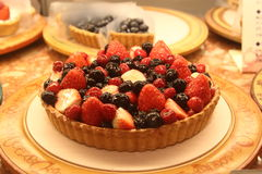 Mix berries tart. Glossy mix berries tart close-up Stock Photos