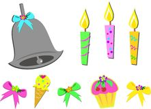 Mix of Birthday Items Stock Photography
