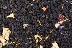 Mix of black Ceylon tea and green gunpowder tea with the additio Stock Photos