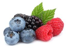 Mix of blueberries, blackberries, raspberries isolated on white background royalty free stock photography