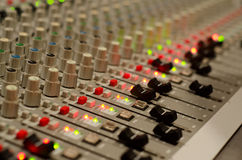 Mix board. Audio sound mixing board in concert Stock Photo