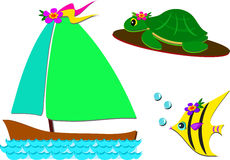 Mix of Boat, Turtle, and Fish. Here is a group of tropical marine images Royalty Free Stock Images