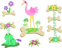 Mix of Bones, Flamingo, Frog, and Flowers Royalty Free Stock Photo