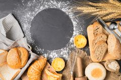 Mix bread, croissant, baguette, muffin and Egg Tart Royalty Free Stock Photography