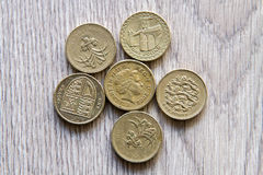 British coins. Mix of british coins - pence, penny, pounds Royalty Free Stock Photography