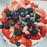 Mix Burry cake!!. Mix burry cake include with straberry , burry and sherry Stock Photography