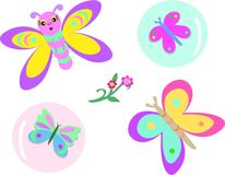 Mix of Butterflies, Bubbles, and Flowers Royalty Free Stock Photos