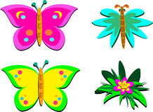 Mix of Butterflies and a Flower Stock Images