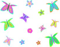 Mix of Butterflies and Flowers Royalty Free Stock Photography