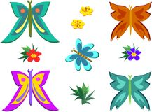 Mix of Butterflies and Flowers Stock Images