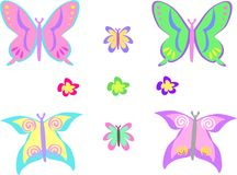 Mix of Butterflies and Flowers Royalty Free Stock Photos