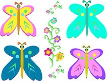 Mix of Butterflies and Vines Stock Image