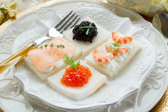 Mix canape. On christmas table royalty free stock photography