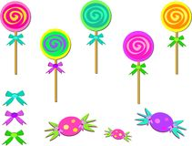 Mix of Candies and Bows Stock Photo