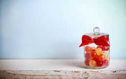 Mix candies in a jar Stock Images