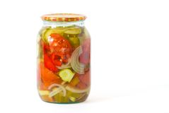 Mix of canned vegetables in a glass jar Stock Images