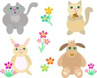 Mix of Cat, Squirrel, Rabbit and Dog. Here is a collection of whimsical animals of a Cat, Squirrel, Rabbit, and Dog royalty free illustration