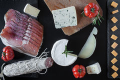 Mix Of Cheese And Salami Royalty Free Stock Images