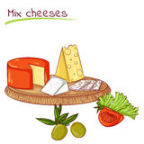 Mix cheeses and vegetables Stock Photos