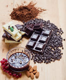 Mix of chocolate. Composition stock photography