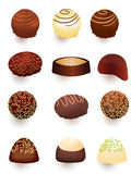 Mix of chocolate candies. And truffiles Royalty Free Stock Image