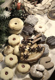Mix of Christmas cookies with cinnamon and candle Stock Photography