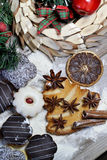 Mix of Christmas cookies with cinnamon on the table Royalty Free Stock Photos