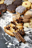Mix of Christmas cookies with cinnamon on the table Stock Images