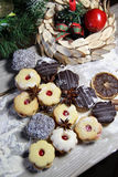 Mix of Christmas cookies with cinnamon on the table Royalty Free Stock Photography