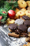 Mix of Christmas cookies with cinnamon on the table Royalty Free Stock Image