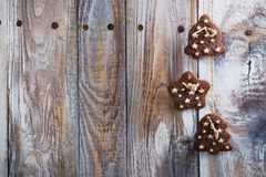 Mix of Christmas cookies on wooden table with Christmas decor. Mix of Christmas cookies - nuts, shortbreads, gingerbread cookies on wooden table with Christmas Stock Image