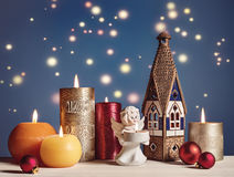 Mix of Christmas decorations on blue. royalty free stock photo