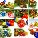 Mix a Christmas tree and Christmas decorations Stock Photos