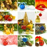 Mix a Christmas tree and Christmas decorations Royalty Free Stock Photo