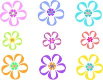 Mix of Clear Retro Flowers Stock Images