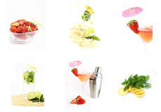 Mix of cocktails and fruit Stock Photo