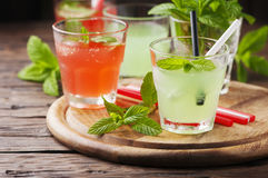 Mix of cocktails with rum and mint Royalty Free Stock Photography