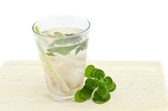 Mix cold soda drink with lemon grass, lychee.mint on wood tray Royalty Free Stock Photos