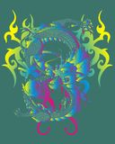 Mix color dragon. Mixed colored dragon graphic design t-shirts Royalty Free Stock Images