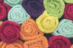 Mix color rolled towels in the shopping mall, tropical island Bali, Indonesia. royalty free stock image