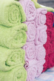 Mix color rolled towels in the shopping mall, tropical island Bali, Indonesia. royalty free stock photos
