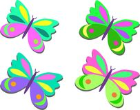 Mix of Colored Butterflies Royalty Free Stock Images