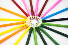 Mix of colored pencils Stock Images