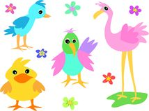 Mix of Colorful Birds and Flowers Royalty Free Stock Photos
