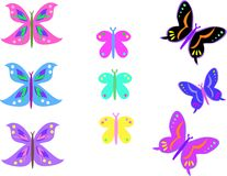 Mix of Colorful Butterflies Stock Photo