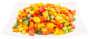 Mix Colorful Chopped Capsicums In White Plate III Stock Photography